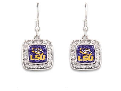 LSU Tigers Rhinestone Square Earring