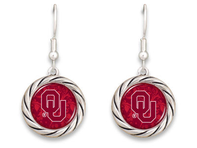Oklahoma Sooners Braided Disk Earrings