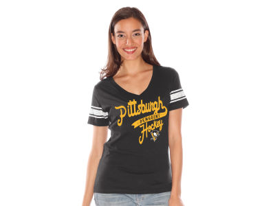 Pittsburgh Penguins NHL Women's Sleeve Stripe Tailsweep T-Shirt