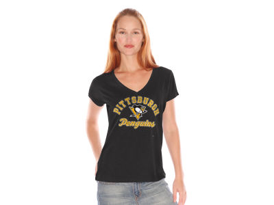 Pittsburgh Penguins G-III Sports NHL Women's Glitter Short Sleeve V-Neck T-Shirt