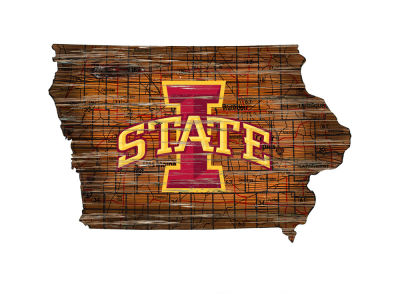 Iowa State Cyclones Team Logo Road Map Wall Art