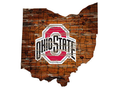 Ohio State Buckeyes Team Logo Road Map Wall Art