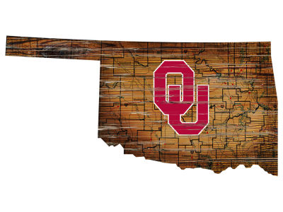 Oklahoma Sooners Team Logo Road Map Wall Art