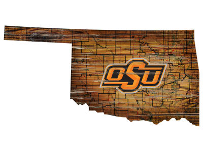 Oklahoma State Cowboys Team Logo Road Map Wall Art