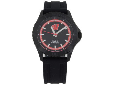 Wisconsin Badgers Jack Mason Men's Blackout Silicone Strap Watch