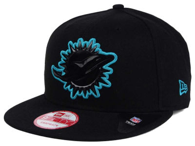 Miami Dolphins New Era NFL Black Bevel 9FIFTY Snapback Cap