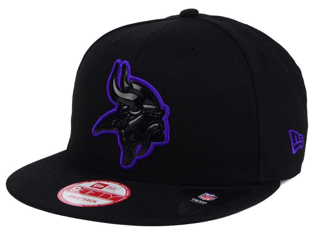 Minnesota Vikings New Era NFL Black Bevel 9FIFTY Snapback Cap  7decbb1d024