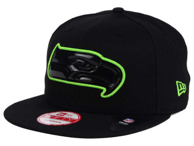 Seattle Seahawks New Era NFL Black Bevel 9FIFTY Snapback Cap