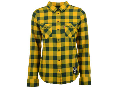 Green Bay Packers NFL Women's Plaid Button Up Woven Shirt