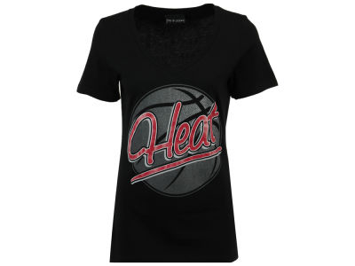 Miami Heat NBA Women's Glitter Basketball T-Shirt