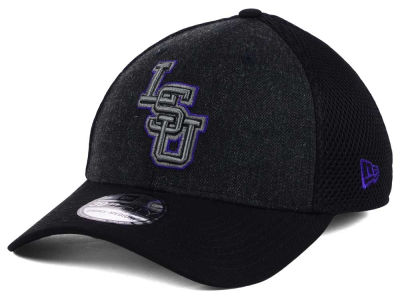 LSU Tigers New Era NCAA Heather Black Neo 39THIRTY Cap