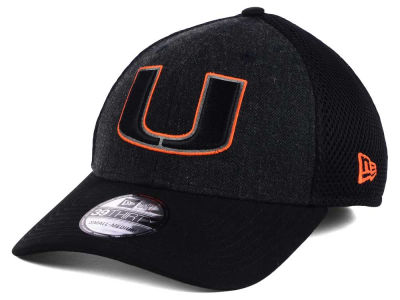 Miami Hurricanes New Era NCAA Heather Black Neo 39THIRTY Cap