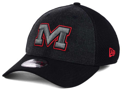 Ole Miss Rebels New Era NCAA Heather Black Neo 39THIRTY Cap