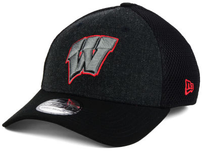 Wisconsin Badgers New Era NCAA Heather Black Neo 39THIRTY Cap