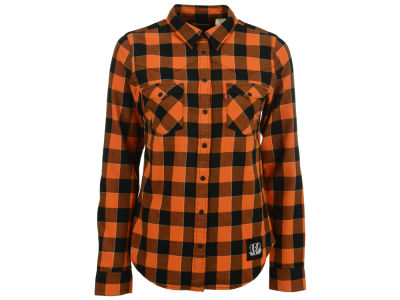 Cincinnati Bengals NFL Women's Plaid Button Up Woven Shirt