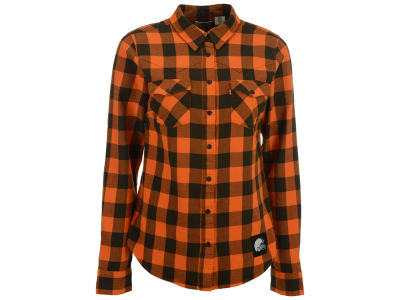 Cleveland Browns NFL Women's Plaid Button Up Woven Shirt