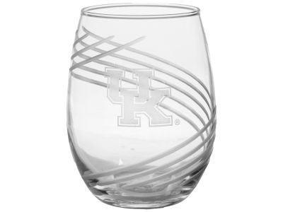 Kentucky Wildcats 15oz Swirl Cut Stemless Wine Glass