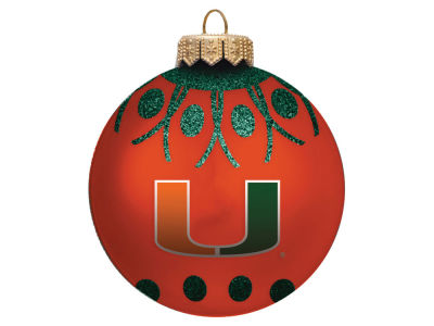 "Miami Hurricanes 4"" Glitter Ornament"