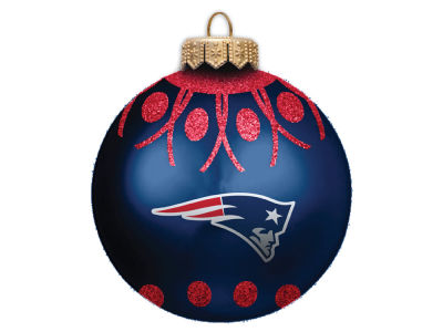 "New England Patriots 4"" Glitter Ornament"