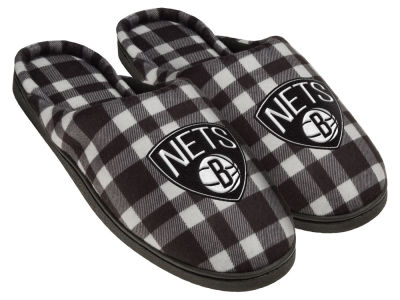 Brooklyn Nets Flannel Cup Sole Slippers Boxed