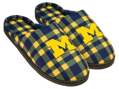 Michigan Wolverines Flannel Cup Sole Slippers Boxed