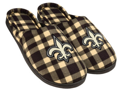 New Orleans Saints Flannel Cup Sole Slippers Boxed