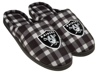 Oakland Raiders Flannel Cup Sole Slippers Boxed
