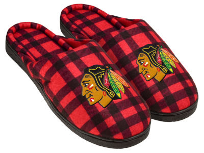 Chicago Blackhawks Flannel Cup Sole Slippers Boxed