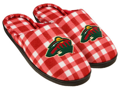 Minnesota Wild Flannel Cup Sole Slippers Boxed