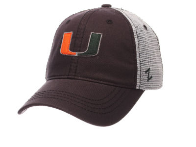 Miami Hurricanes Zephyr NCAA Smokescreen Adjustable Cap
