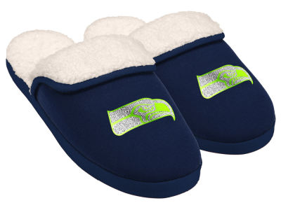 Seattle Seahawks Women's Glitter Patch Slippers