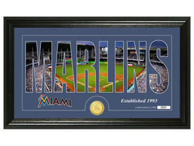 Miami Marlins Highland Mint Silhouette Word Art Photo Mint
