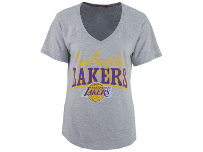 Los Angeles Lakers Mitchell and Ness NBA Women's Score V-Neck T-Shirt