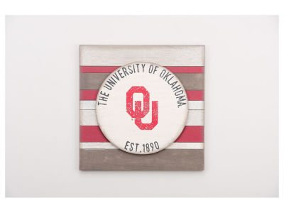 Oklahoma Sooners 16x16 Striped Sign
