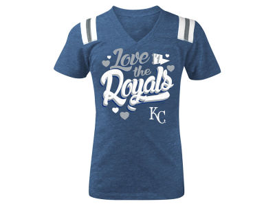 Kansas City Royals MLB Girls Shoulder Stripe Glitter T-Shirt
