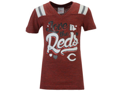 Cincinnati Reds MLB Girls Shoulder Stripe Glitter T-Shirt