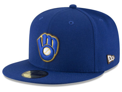 Milwaukee Brewers New Era MLB Classic Leather Outline 59FIFTY Cap