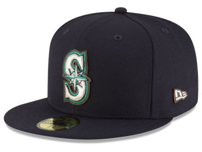 Seattle Mariners New Era MLB Classic Leather Outline 59FIFTY Cap