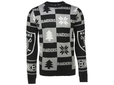 Oakland Raiders NFL Men's Patches 2.0 Ugly Sweater