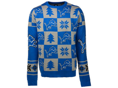 Detroit Lions NFL Men's Patches 2.0 Ugly Sweater