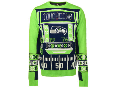 Seattle Seahawks NFL Men's Light Up Ugly Crew Neck Sweater