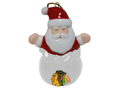 Chicago Blackhawks Santa Bell Ornament