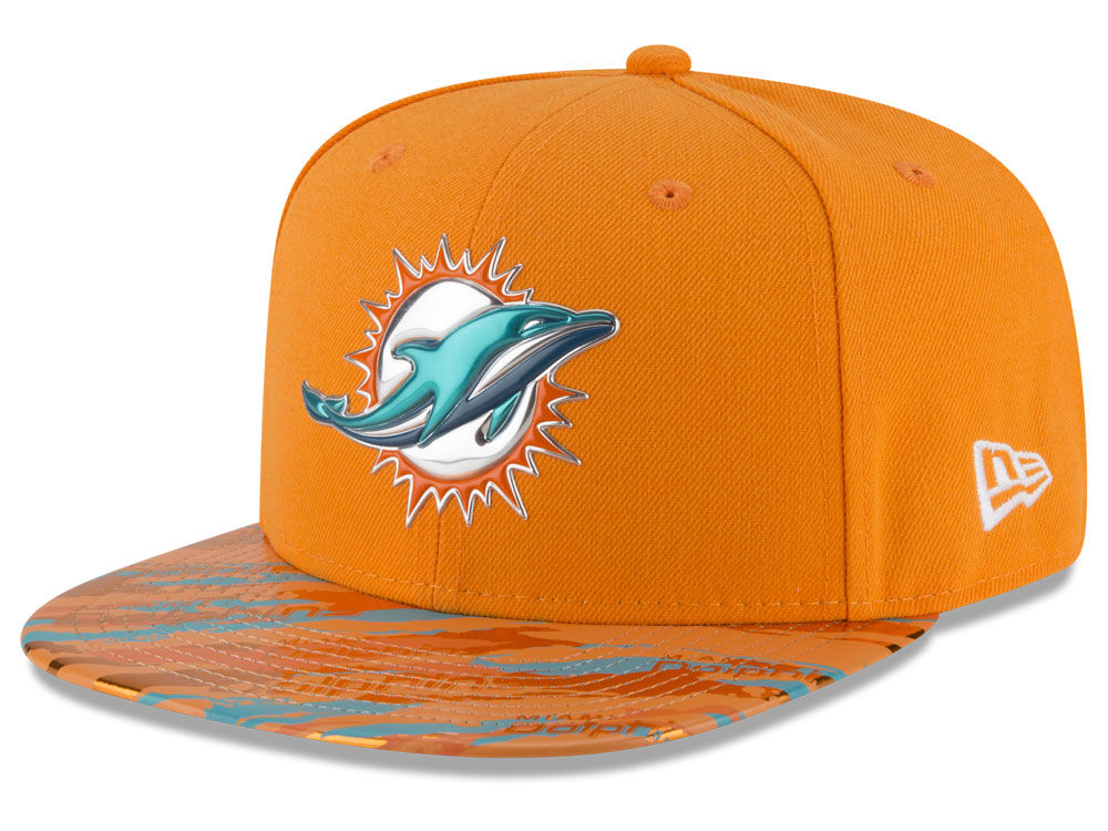 Miami Dolphins New Era 2016 NFL On Field Color Rush 9FIFTY Snapback Cap  85999eb4e