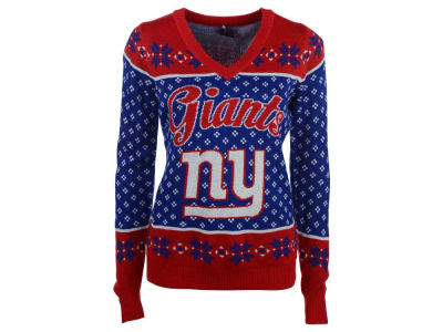 New York Giants NFL Women's Big Logo Ugly Sweater