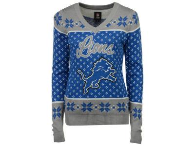 Detroit Lions NFL Women's Big Logo Ugly Sweater