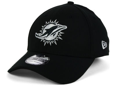 Miami Dolphins New Era NFL Black White Team Classic 39THIRTY Cap