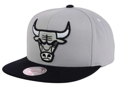 Chicago Bulls Mitchell and Ness NBA Team Gray White Snapback Cap