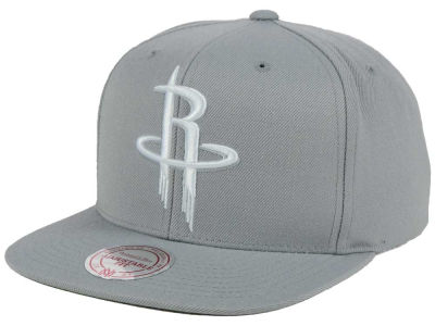 Houston Rockets Mitchell and Ness NBA Team Gray White Snapback Cap