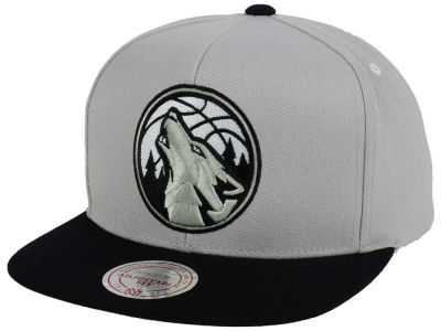 Minnesota Timberwolves Mitchell and Ness NBA Team Gray White Snapback Cap