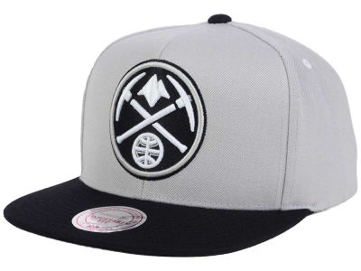 Denver Nuggets Mitchell and Ness NBA Team Gray White Snapback Cap